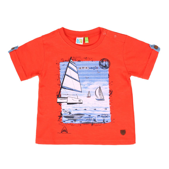 tshirt orange voilier s1951-04