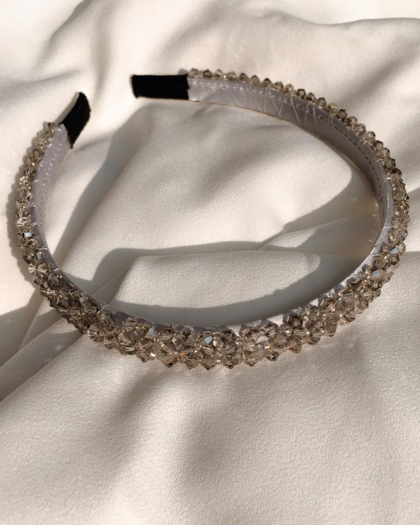 Rosette Headband in Grey