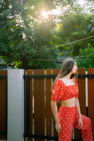 MADRUGA NOT BACKLESS SET IN RED POLKADOT