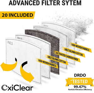 OxiClear N99 Pollution Mask With 20 Activated Carbon Filters, Washable & Reusable, D.R.D.O Certified (No Valve) (Multicolor) (Pack of 5)