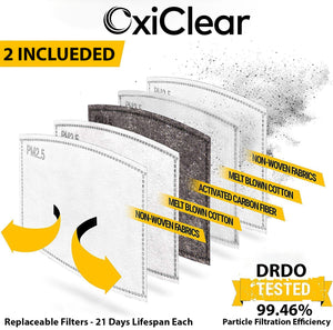 OxiClear N99 Face Mask with 4 Activated Carbon Filters, Reusable (Combat)