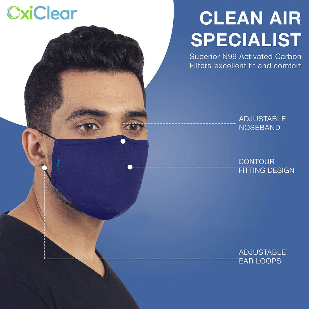 OxiClear N99 Pollution Mask with 12 Activated Carbon Filters, Washable & Reusable, D.R.D.O Certified (No Valve) (Multicolor Dark) (Pack of 3)
