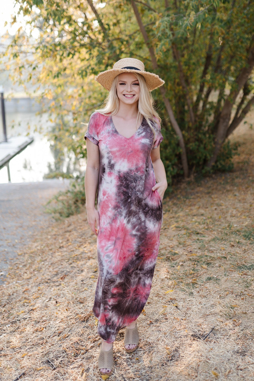 Strike Our Fancy Maxi Dress In Dragon Fruit Colors