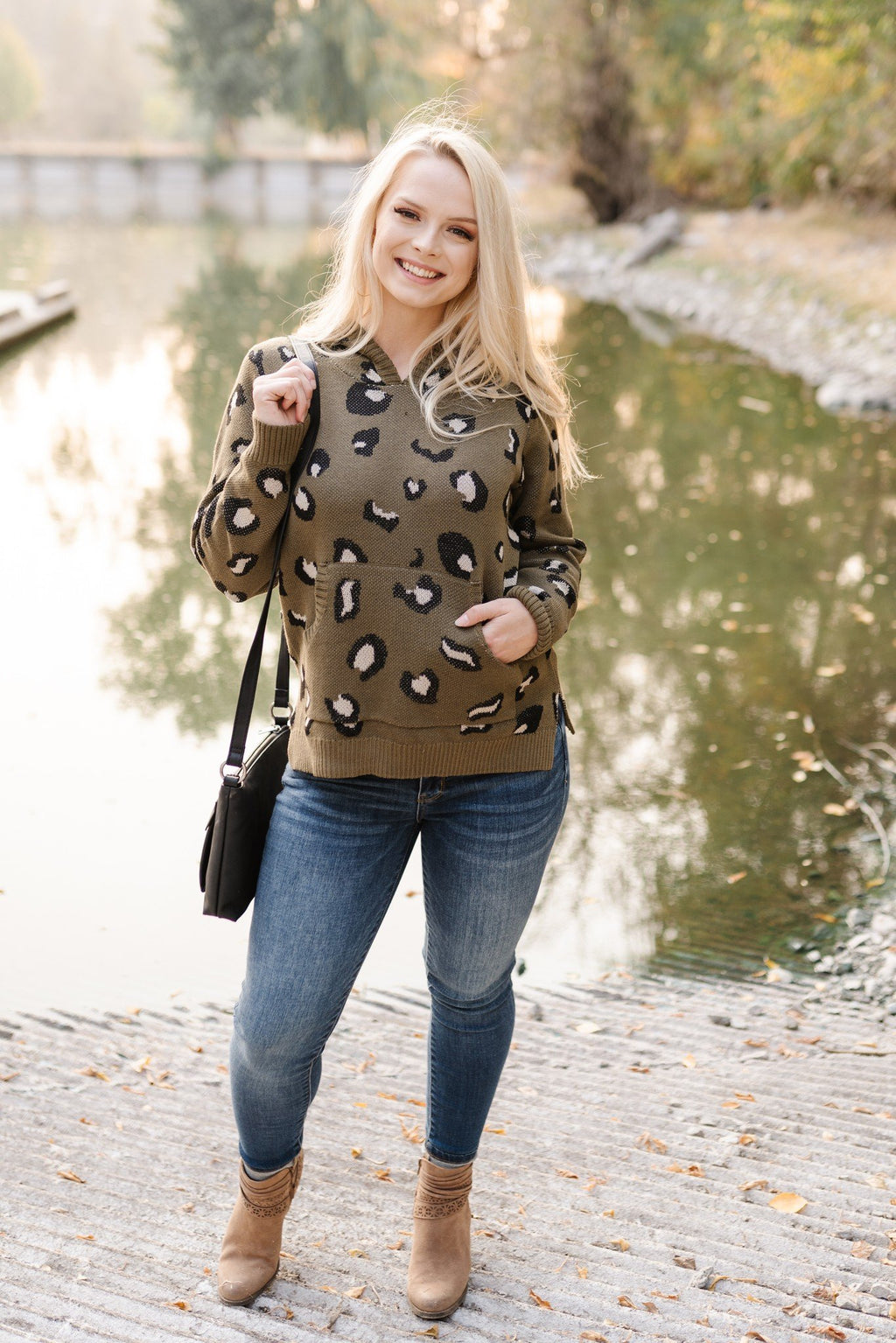 Whole Situation Leopard Sweater In Olive