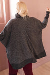 Brushed Melange Cowl Neck Sweater in Black