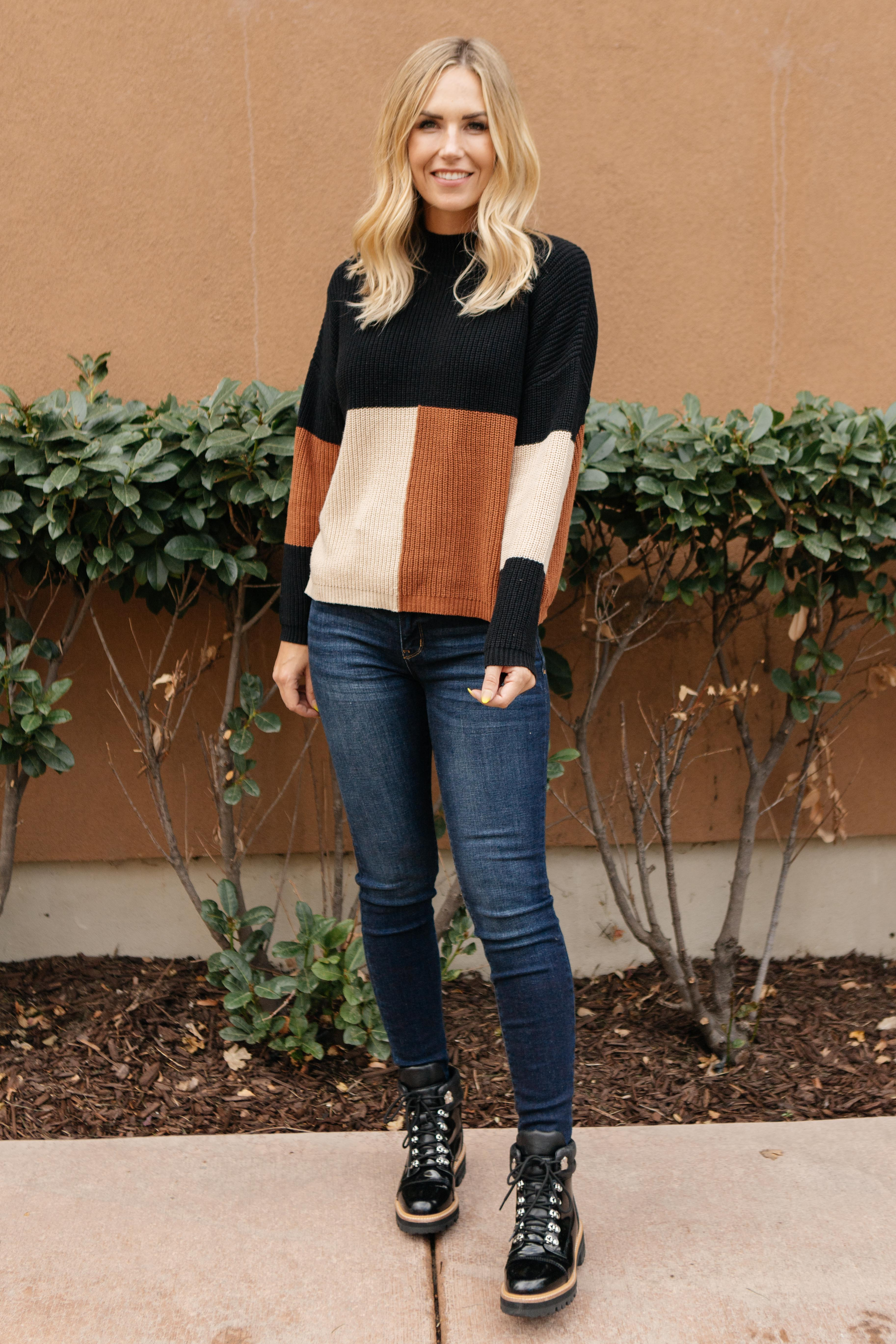 Chloe Color Block Top in Natural
