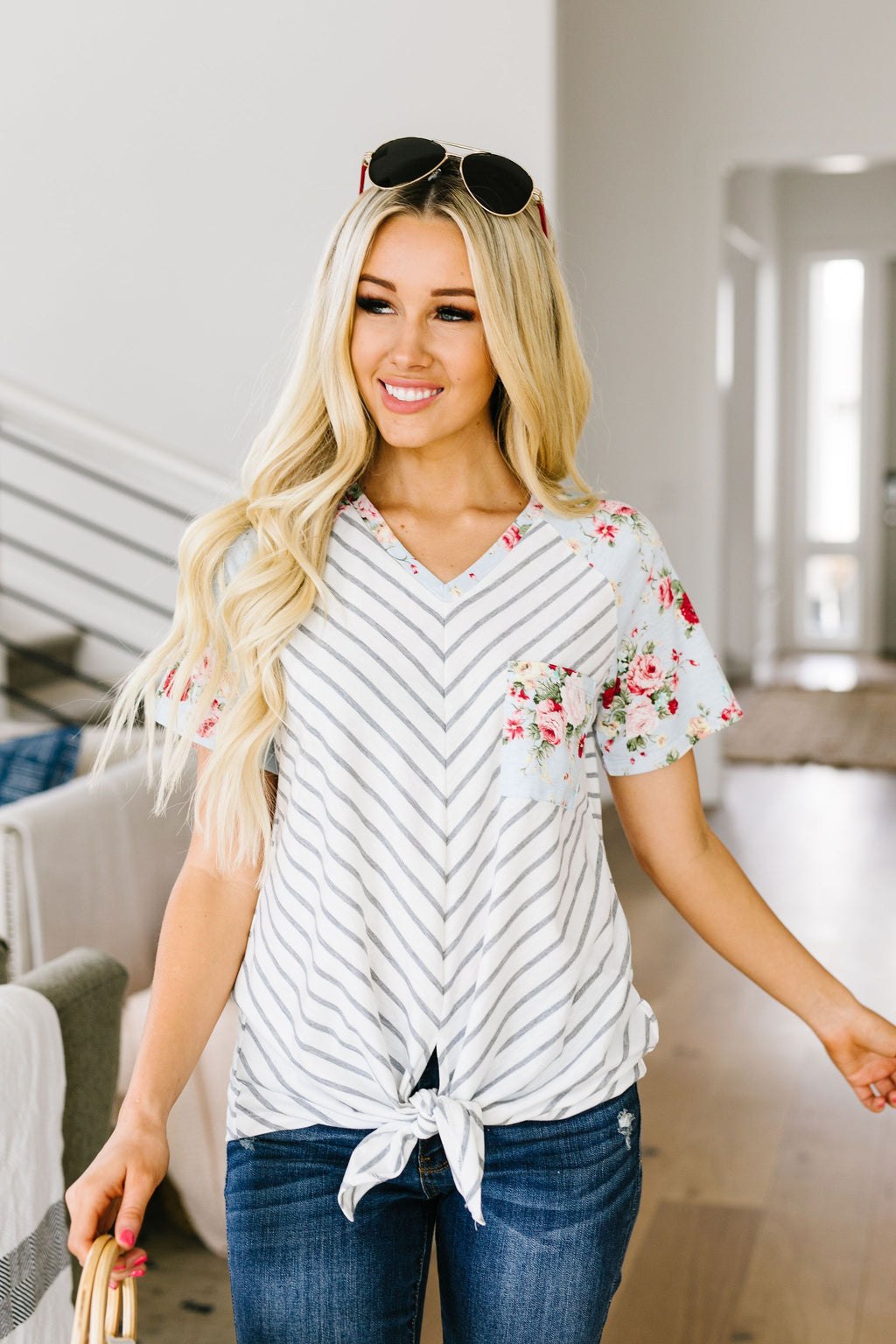 Flowers & Chevron Striped Top In Pale Blue