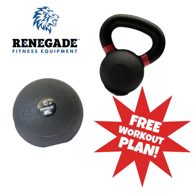 Home Fitness Package #2 - 8kg Slam Ball and Kettlebell - Macarthur Fitness Equipment