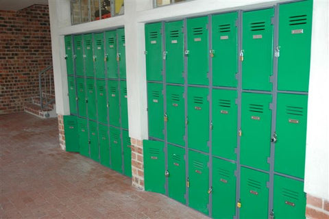 3 tier plastic locker in light green at a primary school