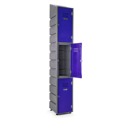 3 Tier Locker Slant- Solid doors - grey body-mac blue doors - Path Plastics Cape Town