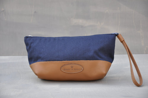 Utility Pouch - Wrist Strap with Base (Dark Blue / Tan)