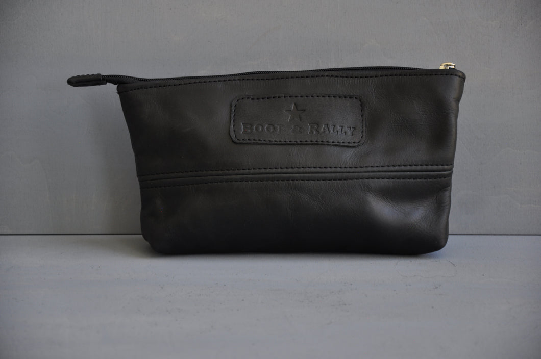Utility Pouch - With Base /  Full Leather (black)