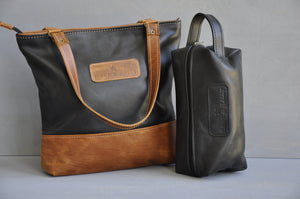 Combo Deal - Megan two tone  , Toiletry bag  - (Black)