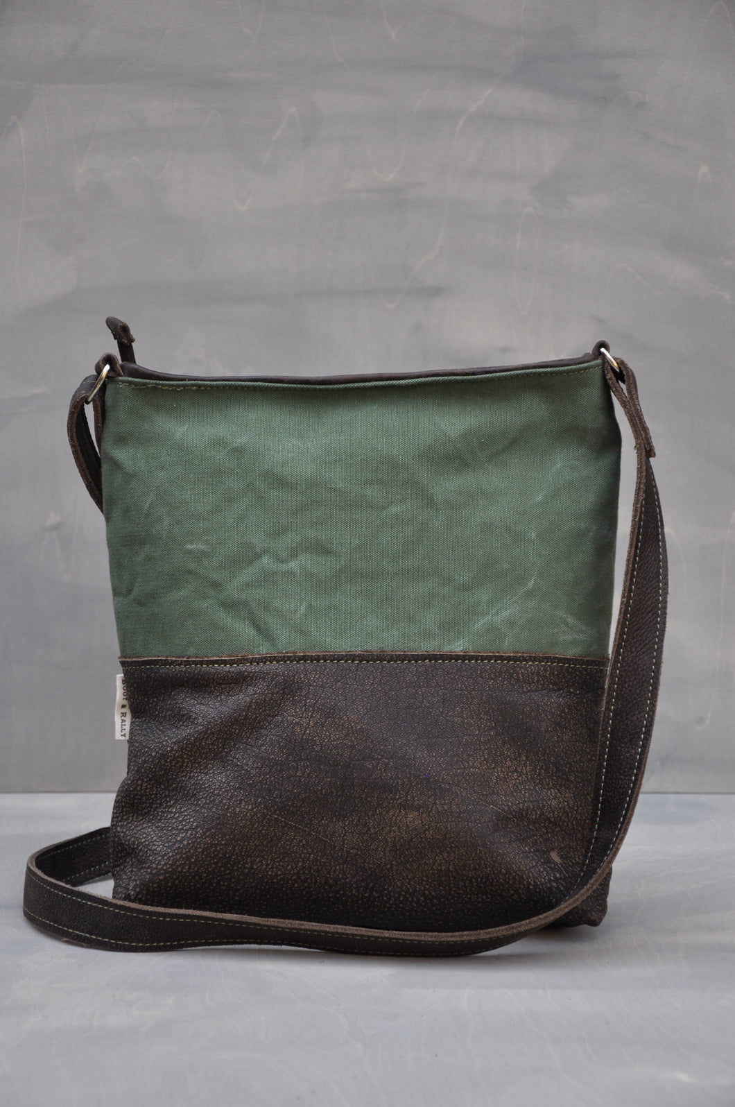 Vintage Crossbody Bag - Reclaimed Canvas & Leather (Green / Buffed Brown)