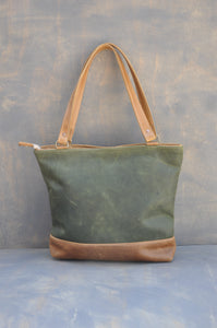 Megan bag Two tone leather (green & Diesel Toffee)