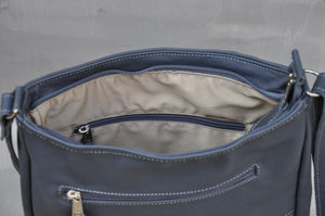 Sling Bag - Full Leather (Dark Blue)