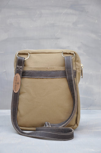 Satchel - Canvas & Leather (Khaki / Buffed Brown)
