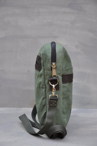 Satchel - Reclaimed Cotton Canvas (Green / Buffed Brown)