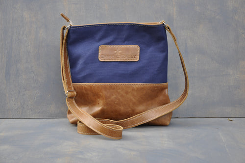 Hipster Mini - (Blue canvas / Diesel toffee)