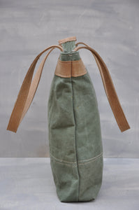 Vintage Tote  - Reclaimed Canvas & Leather (Green / Beige)