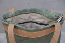 Load image into Gallery viewer, Vintage Tote  - Reclaimed Canvas & Leather (Green / Beige)