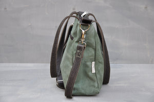 Vintage Jana Bag - Reclaimed Canvas & Leather (Green / Buffed Brown)