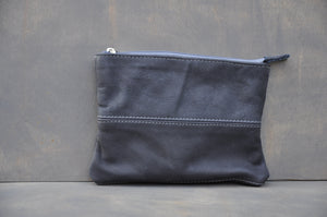 Utility Pouch - Full Leather (Dark Blue)