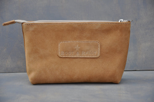 Utility Pouch - With Base /  Full Leather (Tan)
