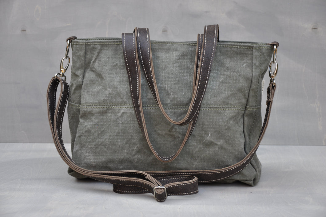 Vintage Jana Bag - Reclaimed Ripstop & Leather (Green / Buffed Brown)