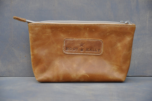Utility Pouch - With Base /  Full Leather (Diesel Toffee)