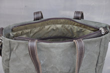 Load image into Gallery viewer, Vintage Jana Bag - Reclaimed Ripstop & Leather (Green / Buffed Brown)
