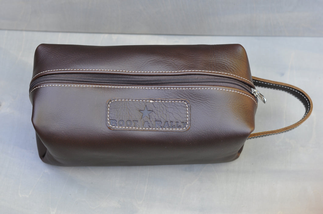 Toiletry bag - Full leather (Choc brown)