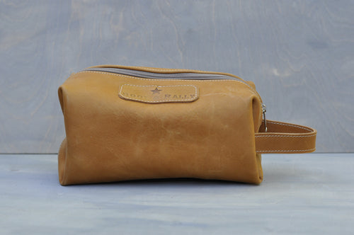 Toiletry bag - Full leather (Tan)
