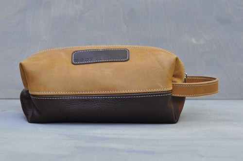 Toiletry bag - Full leather two tone (Tan/choc brown)