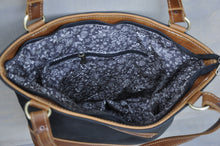 Load image into Gallery viewer, Megan bag Two tone leather (Black & Diesel Toffee)