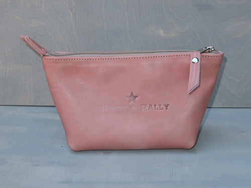 Utility Pouch - With Base /  Full Leather (Dusty Pink)