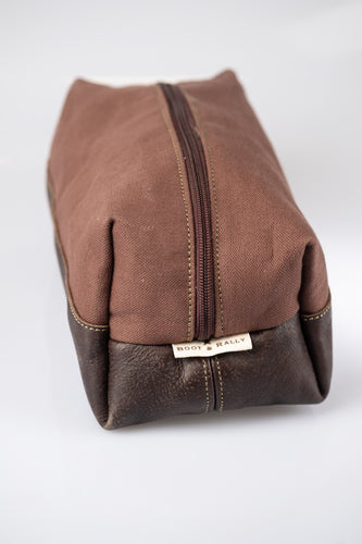 Toiletry bag - Canvas & Leather (Brown / Buffed Brown)
