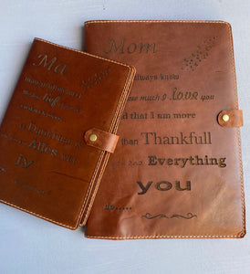 Leather Book cover A4( Tabacco ) Engraved Afrikaans