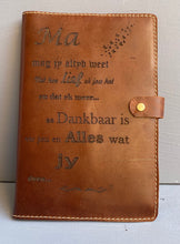 Load image into Gallery viewer, Leather Book cover A5( Tabacco ) Engraved Afrikaans