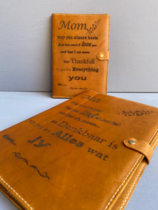 Leather Book cover A4 ( Diesel Toffee ) Engraved English