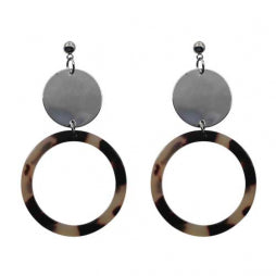 Tortoiseshell Ring and Disc Drop Earring