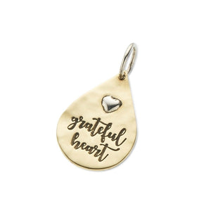 Grateful Heart Teardrop Charm