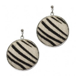 Zebra Print Textured Circle Earring