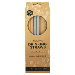 Ever Eco Straight Silicone Straws 4pk