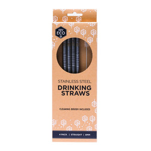 Ever Eco Straight Stainless Steel Straws 4pk