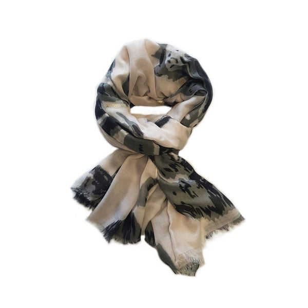 Blurred Floral Scarf with Metallic Detail