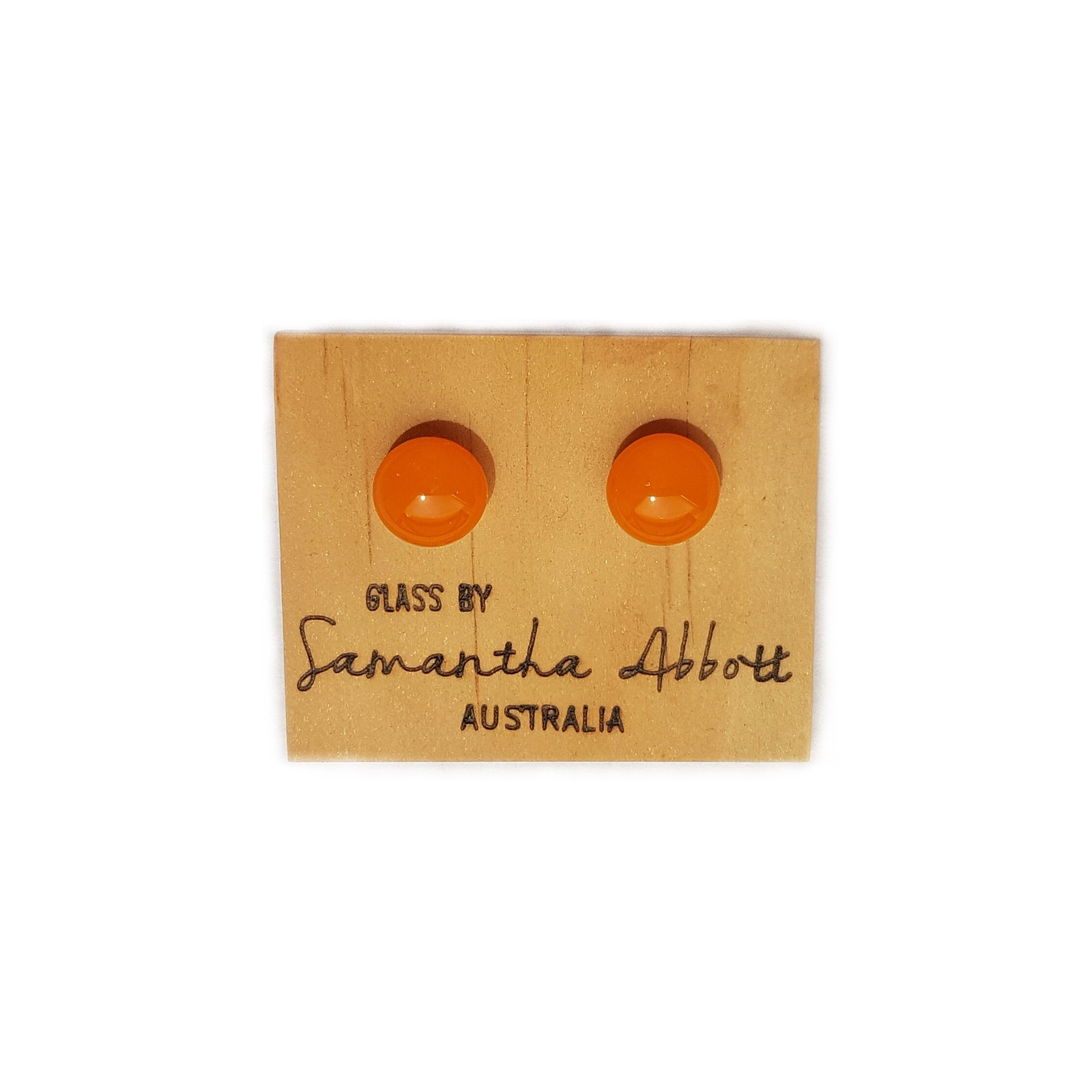 Samantha Abbott Glass Stud Earring Orange