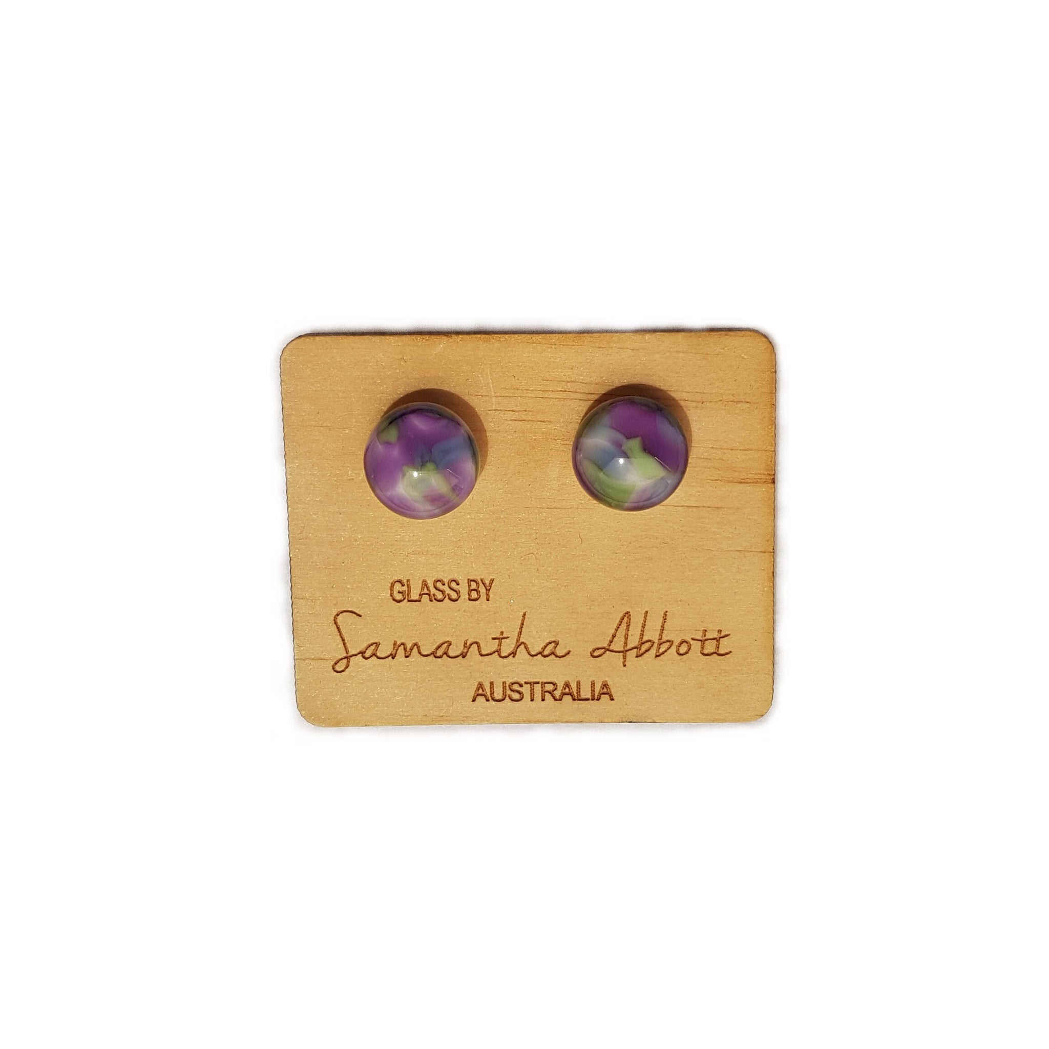 Samantha Abbott Glass Stud Earring Purple