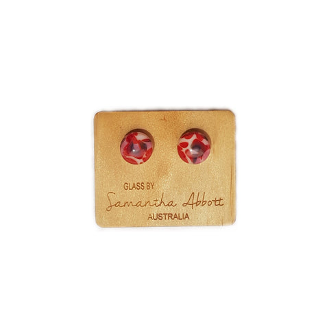 Samantha Abbott Glass Stud Earring Red Multi