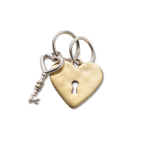 Heart Lock and Key Charm Set